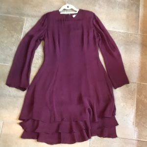 Bill Blass maroon silk dress